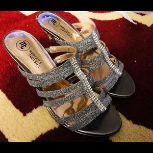Silver still ego heels with rhinestone detail